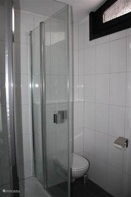 Nieuwe Badkamer met ruime douche en hangend toilet.