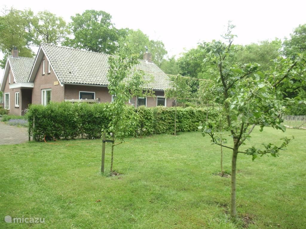 Dit is het aanzicht van de bungalow vanuit de tuin. In de tuin is een ingegraven trampoline en een schommeltoestel beschikbaar.