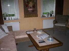 de ruime woonkamer met dimbare sfeerverlichting