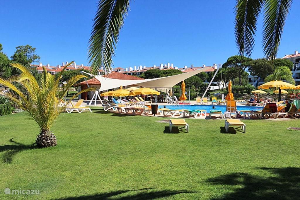 Zwembad, kinderzwembad en Jacuzi in te tuinen van het apartement