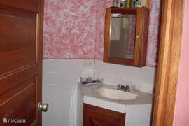 sink and cupboards in bathroom 1. On the left, behind the door is the shower. On the right, not visible, is the toilet.