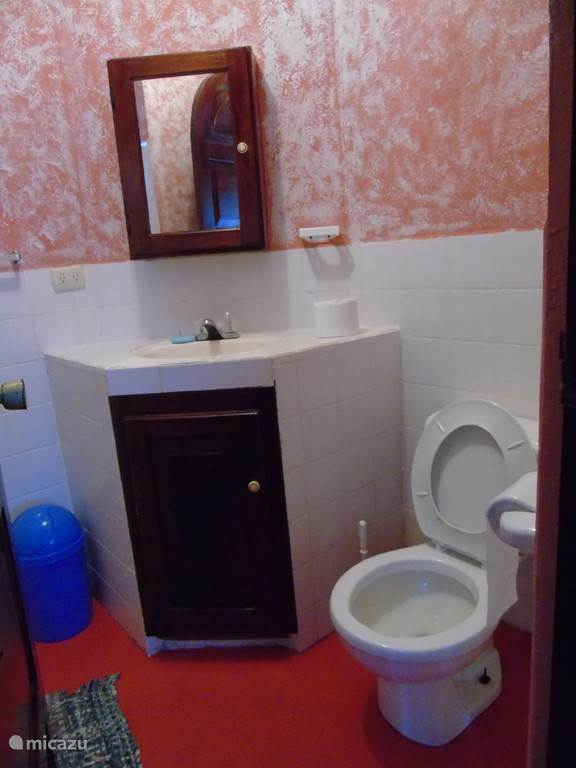 one of the two toilets; a per room