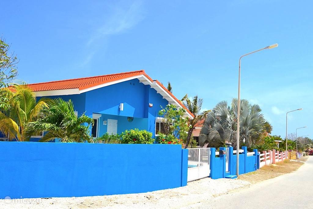 Villa Blou Curacao is gelegen op de hoek van een rij woningen, waardoor er rondom de woning ruimte is voor tuinen, terrassen, zwembad en parkeerplaatsen.