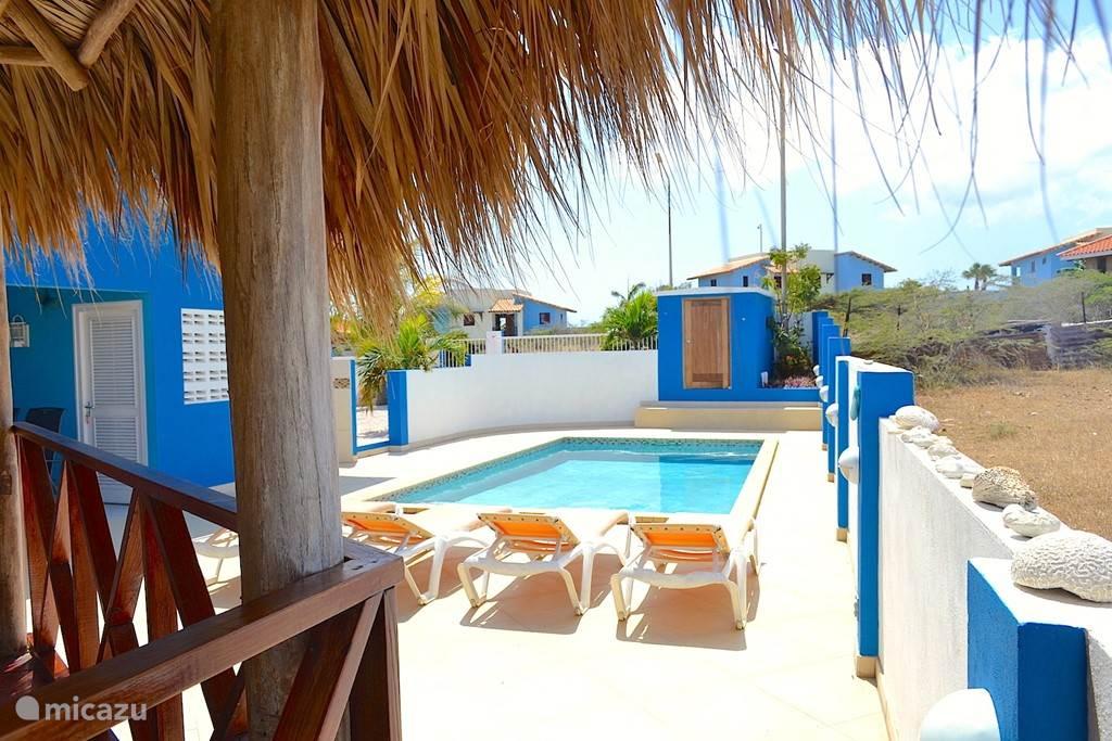 Villa Blou Curacao, blik op het zwembad vanuit de grote palapa.