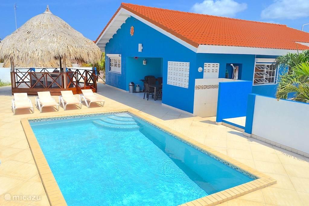 Villa Blou Curacao, zicht op het zwembad, de palapa en de achterporch.