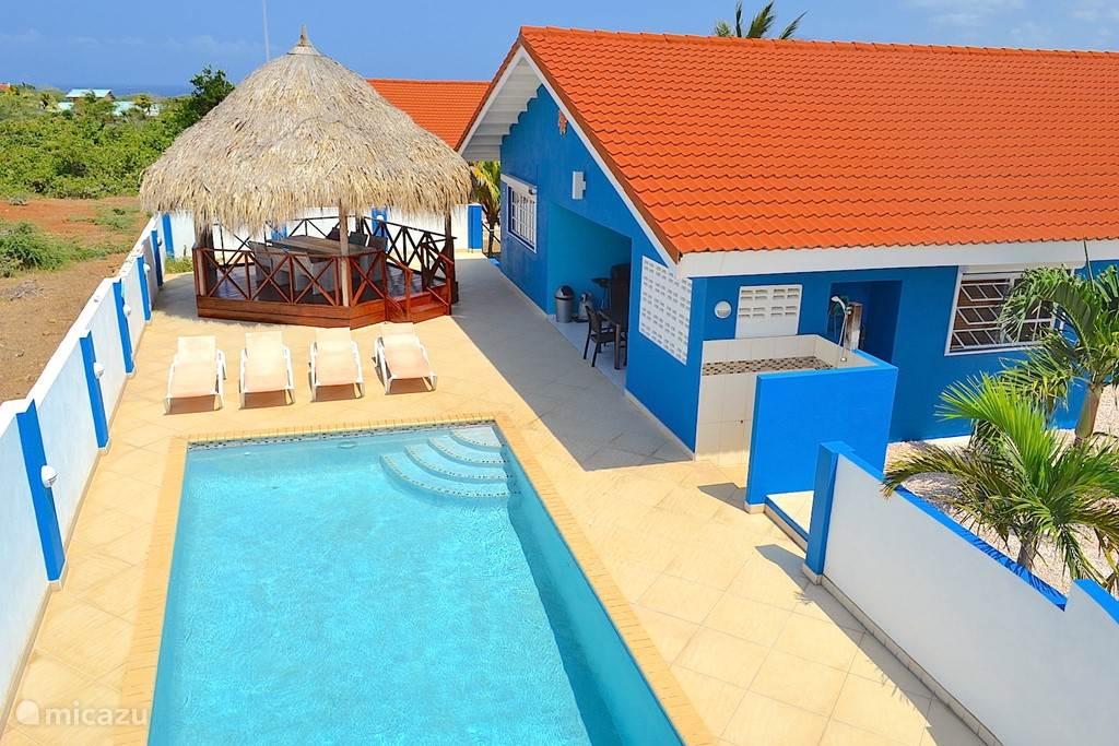 Villa Blou Curacao, met zicht op het zwembad en de grote palapa. Het terras biedt voldoende ruimte voor de  zonnebedden.