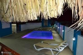 's Avonds is het zwembad verlicht. Door de steeds veranderende kleuren ontstaat een feeërieke sfeer.