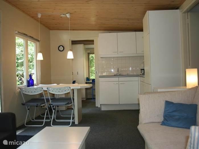 De woonkamer van het huis met een gezellige zithoek, eethoek en keuken.