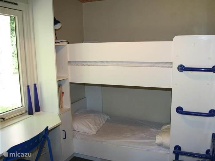 Gezellige kinderslaapkamer met een leuk stapelbed en twee bureautjes.