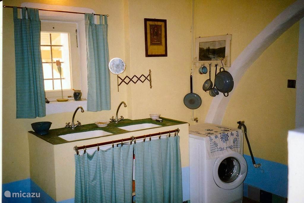 In de waskamer vindt naast een van toiletten ook twee spoelbakken en . de wasmachine.