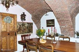 The late medieval brick arches give the dining room a unique look!