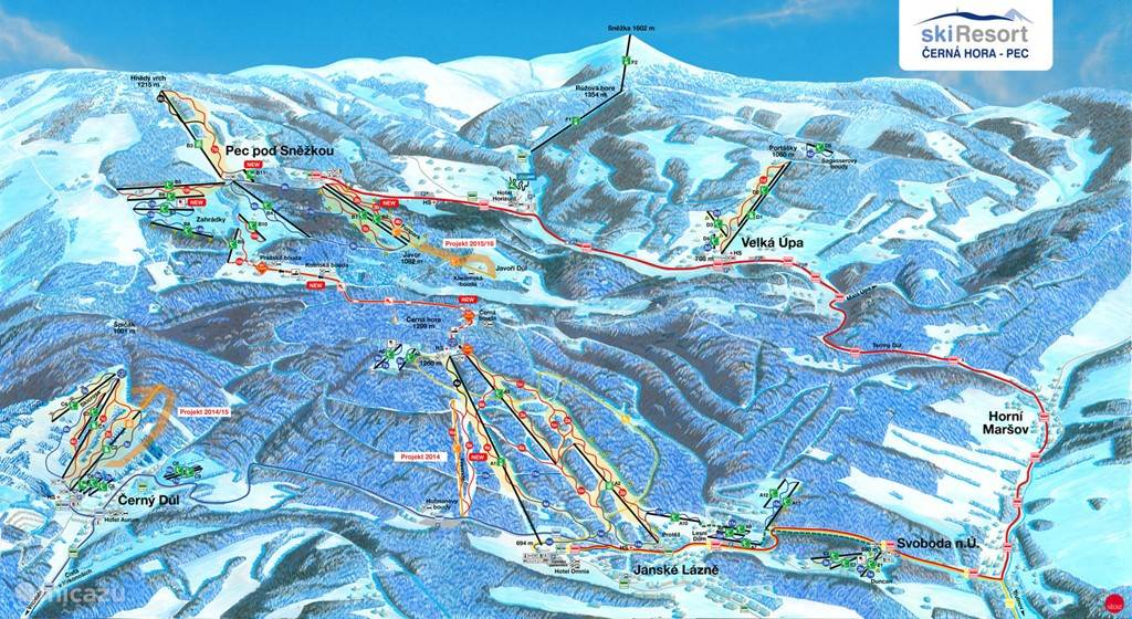 Ski area Pec. The ski tour rollba is also in the adjacent area Janske Lazne and then you can return to Pec again. Also outside the ski bus is possible.