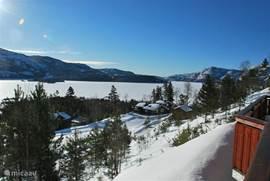 Prachtig uitzicht vanaf het terras in de winter
