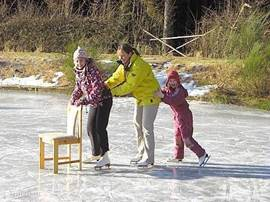 Ook tijdens de wintermaanden is er genoeg te doen, schaatsen op de vijver of skieen in het skigebied der Weißer Stein (2 km van Heidehof)