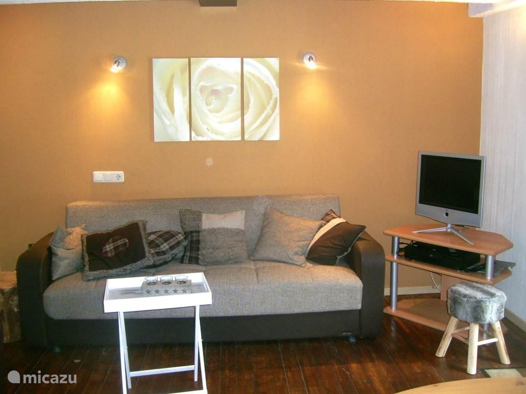 Woonkamer met slaapbank, LCD TV