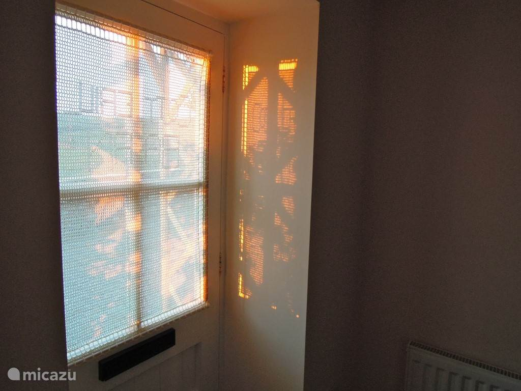 Evening sun on the front door.