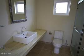 Bathroom with sink, toilet and shower with hot water
