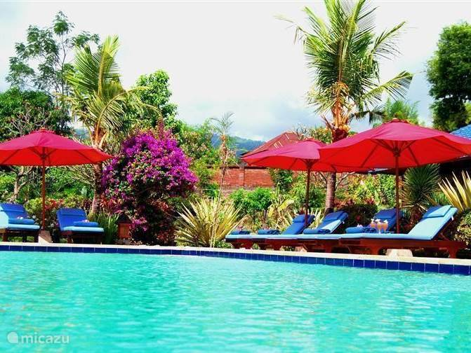 "Swimming pool located amidst the tropical landscaped garden with palmbomben, fruit trees, flowers and plants, with 3 x bale bengong (rest houses) to enjoy the tranquility of Bali and beauty. Plenty of opportunities to ""a stroll"" in the spacious garden."