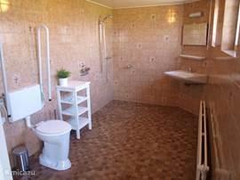 Zeer ruime badkamer aansluitend aan de 'autumn' slaapkamer op de begane grond, die ook geschikt is voor minder valide. Het toilet is verhoogd en beschikt over beugels. Kantelspiegel boven wastafel en handgrepen bij de douche.