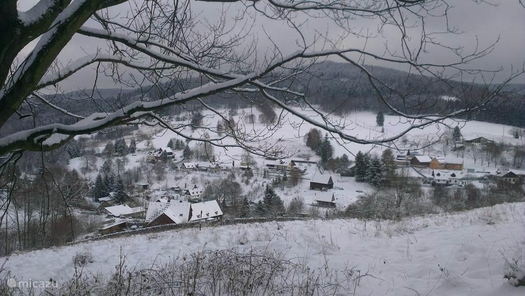 uitzicht vanaf de berg over het dorp