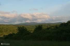 Uitzicht over de Mecsek heuvels in de zomer van net buiten ons dorp Gorica.