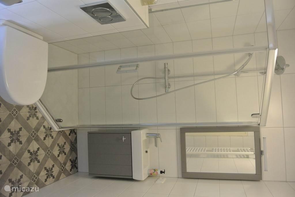 Badkamer 1; in 2016 is de badkamer beneden compleet gerenoveerd en uitgerust met toilet, wastafel en luxe regendouche om heerlijk onder te ontspannen