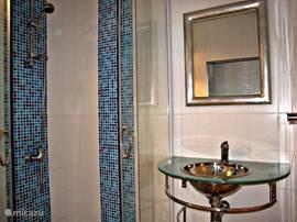 De badkamer is helder en efficiënt ingericht.