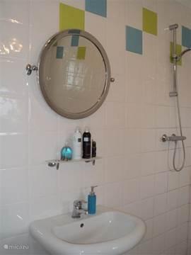 vaste wastafel met goede douche ook beschikt de badkamer over een nieuwe wasmachine