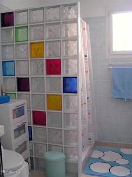 Ruime, vrolijke douchecabine. Er is een etagere waar je je zeep en shampoo artikelen kunt neerzetten. Hier zijn verder de wasmachine en droogrek. Gratis wasmiddel. Het toilet kan met een toilet-verhoger worden aangepast voor mensen die moeite hebben met zitten.