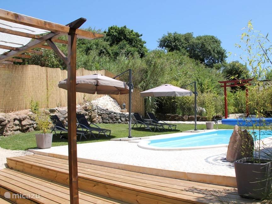 Gezamenlijk zwembad met zonneterras en koffieterras.