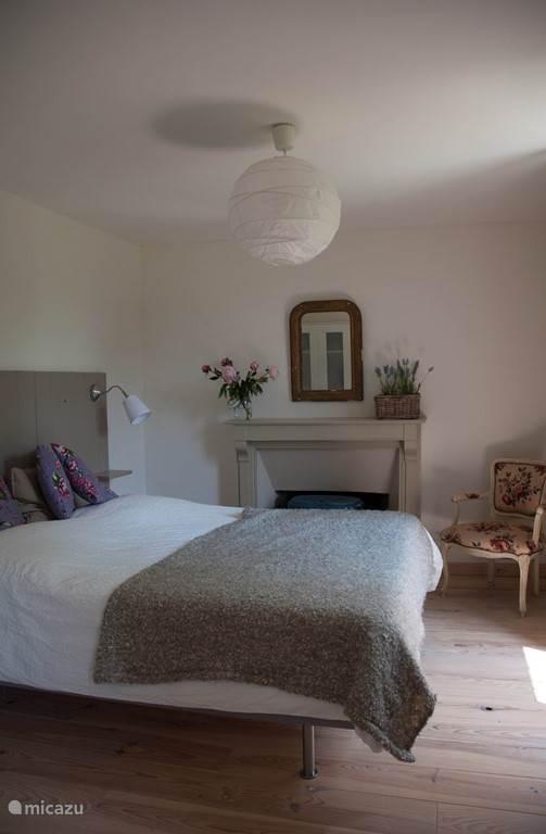slaapkamer met tuinzicht en haard