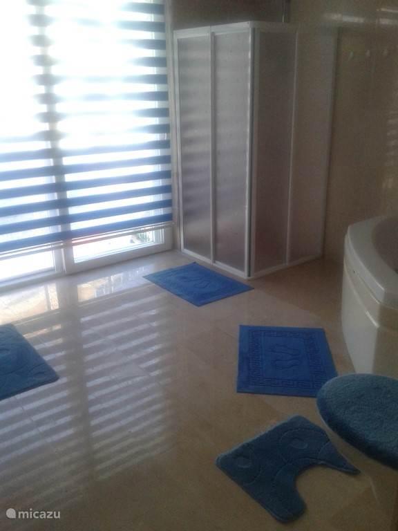 ruime badkamer met jaccuzi, douche en toilette