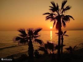 Een romantische zonsondergang.