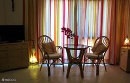 De gezellige en ruime woon/slaapkamer met schuifpui naar één van de terrassen.