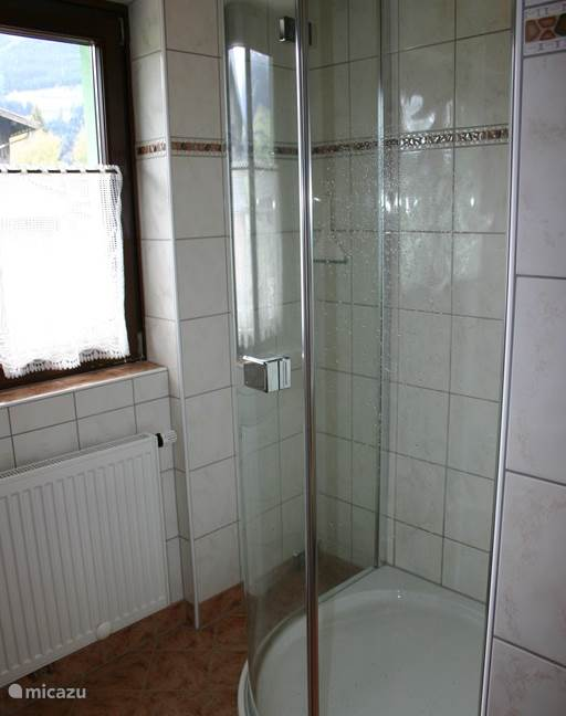 Ruime hoekdouche in de badkamer, met uitzicht op de bergen terwijl je staat te douchen!