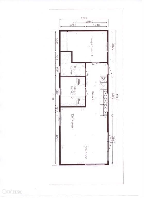 Dit is de indeling van onze vakantiehuisje Rialto 267 echter wel in spiegelbeeld.
