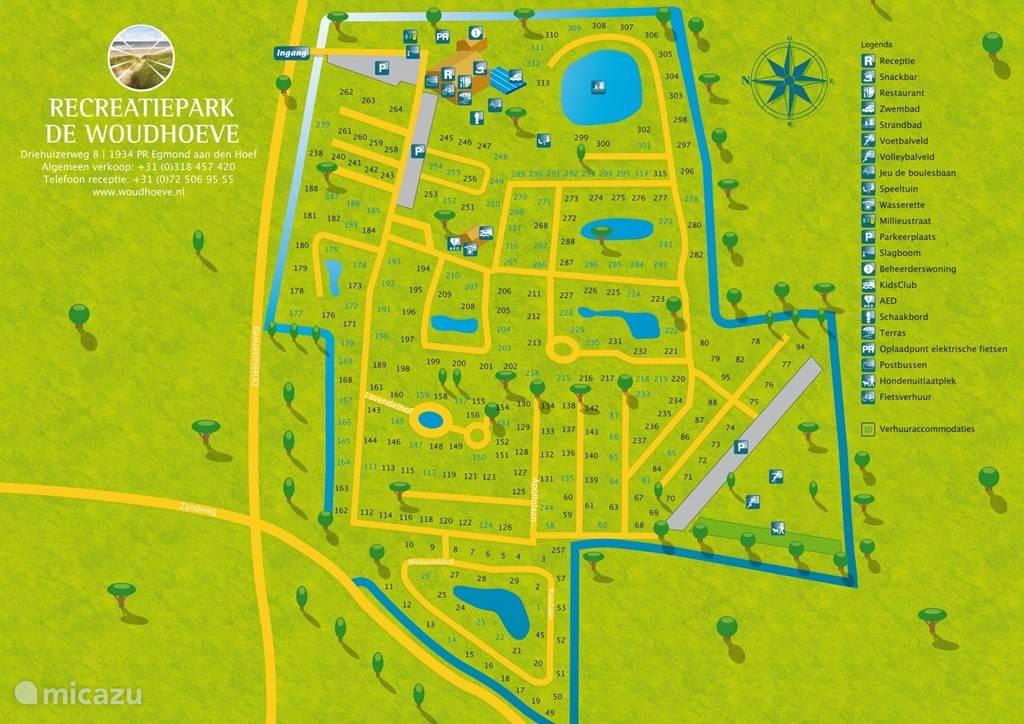 Overzicht en plattegrond van de Woudhoeve in Egmond aan den Hoef.