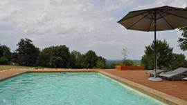 In large outdoor pool with panoramic views, no use of chemicals, purification by electrolysis