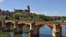Albi, the capital of the Tarn; view of the old bridge and cathedral, the largest brick building in the world