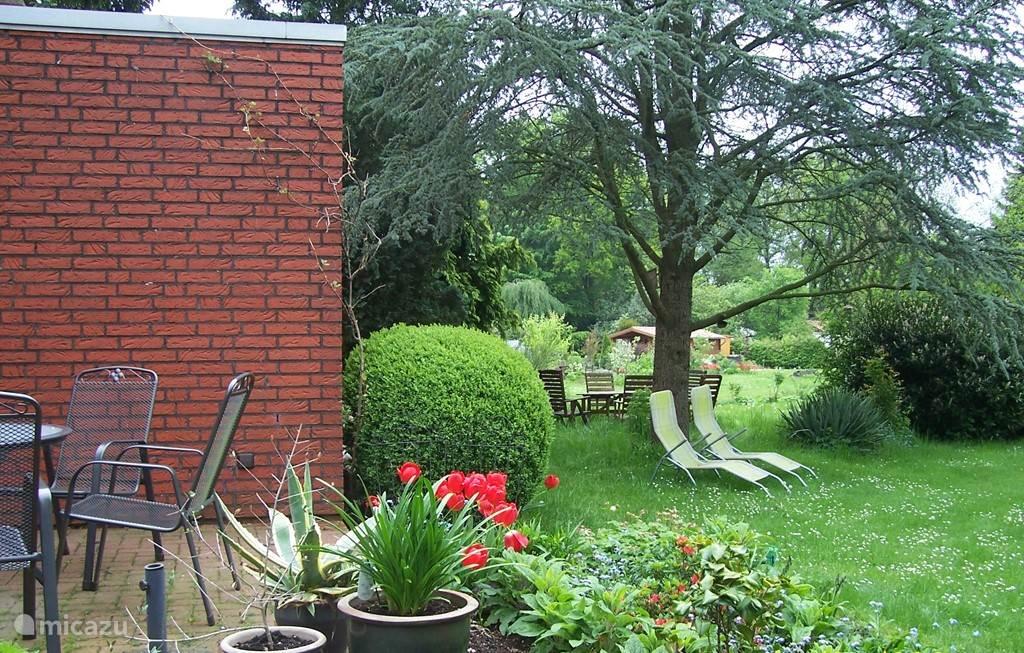 Het terras met doorkijk naar de achtertuin