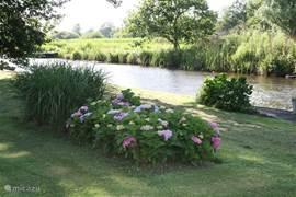 Uitzicht vanuit de keuken en woonkamer naar de tuin, gracht en  het Nationaal Park de Weerribben-Wieden. Vanuit de tuin stapt u zo uw (gehuurde) bootje in om te genieten van het water en kunt u Giethoorn en omgeving bezoeken. Tevens kunt u heerlijk fietsen en wandelen en zijn er kano's te huur