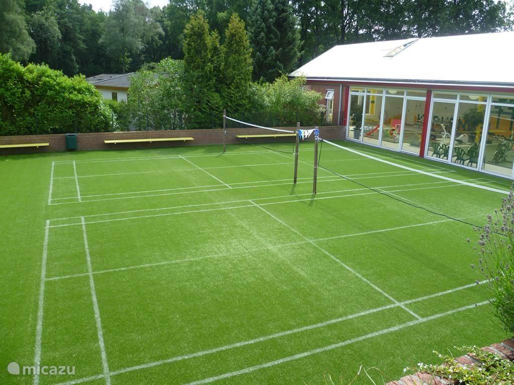 Naast de fitnessruimte ligt er een veldje met kunstgras, bedoeld om voetbal/badminton te spelen of gewoon gezellig een belletje te trappen.