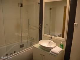één van de drie badkamers. Deze badkamer is uitgerust met bidet, toilet en massagebad.