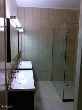 Bathroom with shower and two sink combinations.