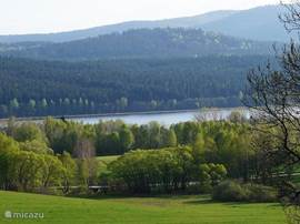 View of Lake Lipno and Austria from the balcony.
