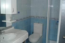 douche, wc, en wastafel met kast onder en spiegelkast