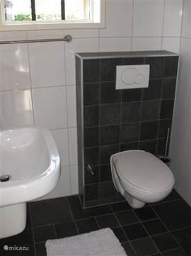 Badkamer met wastafel, douche en toilet. Voorzien van vloerverwarming.