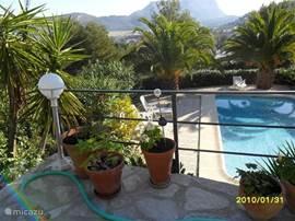 zicht v.a. terras over zwembad en de montgo