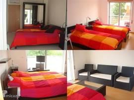 slaapkamers, er zijn 4 slaapkamers, 1 grote slaap kamer met groot balkon en 1 met klein balkon en 1 met uitgang naar de tuin beneden.