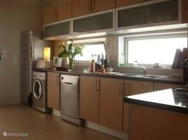 keuken, met wasmachine en afwasmachine en koelkast en diepvries combinatie